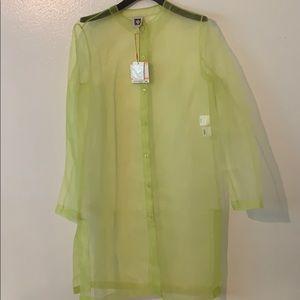 Anne Klein long sheer green cardigan like